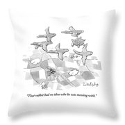 A Turtle Flying With A Flock Of Birds Turns Throw Pillow by Liam Walsh
