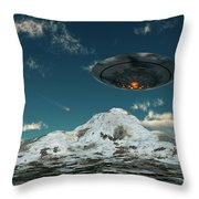 A Ufo Flying Over A Mountain Range Throw Pillow