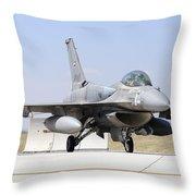 A United Arab Emirates Air Force F-16e Throw Pillow