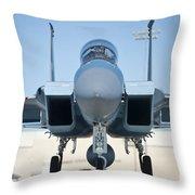 A U.s. Air Force F-15d Eagle Taxis Throw Pillow