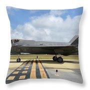 A U.s. Air Force F-35a Taxiing At Eglin Throw Pillow