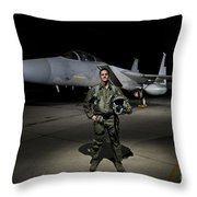 A U.s. Air Force Pilot Stands In Front Throw Pillow