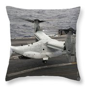A V-22 Osprey Lands Aboard The Aircraft Throw Pillow