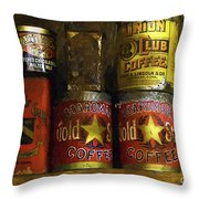 A Variety Of Vintage Tins Throw Pillow