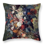 A Vase Of Flowers With Fruit Throw Pillow