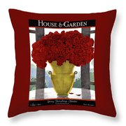 A Vase With Red Roses Throw Pillow