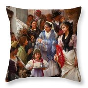 A Venetian Christening Party, 1896 Throw Pillow by Henry Woods