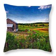 A Verdant Land Impasto Version Throw Pillow