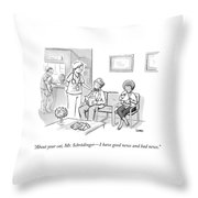 A Veterinarian Confronts A Man In The Waiting Throw Pillow