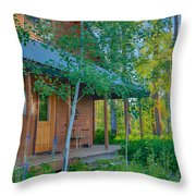 A View Of A Cottage With Aspen Trees Throw Pillow