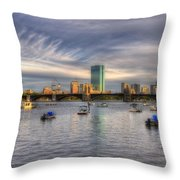 A View Of Back Bay - Boston Skyline Throw Pillow