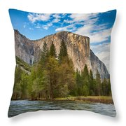 A View Of El Capitan From The Merced River Throw Pillow