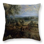 A View Of Het Steen In The Early Morning Throw Pillow by Peter Paul Rubens