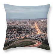 A View Of San Francisco At Twighlight Throw Pillow