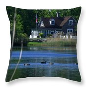 A View Of Some Ducks Enjoying Round Pond At The United States Military Academy Throw Pillow