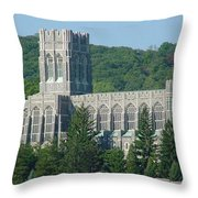 A View Of The Cadet Chapel At The United States Military Academy Throw Pillow