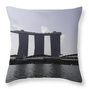 A View Of The Three Towers Of The Marina Bay Sands In Singapore Throw Pillow