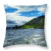 A View Of Urquhart Castle From Loch Ness Throw Pillow