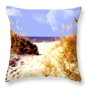 A View Through The Dunes To The Ocean Throw Pillow