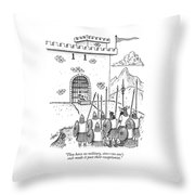A Viking Army Stands Before A Castle Gate Where Throw Pillow