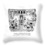 A Viking King Oversees A Social Gathering Throw Pillow