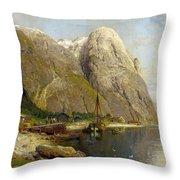 A Village By A Fjord Throw Pillow