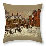 A Village In The Snow Throw Pillow
