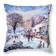 A Village In Winter Throw Pillow