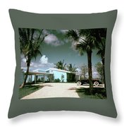 A Vintage Car Parked Outside A Blue House Throw Pillow