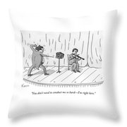 A Violinist Speaks To A Wildly Gesturing Throw Pillow