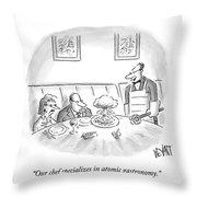 A Waiter Served A Man A Plate Of Food That Throw Pillow