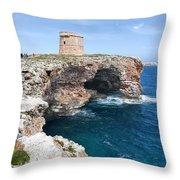 Xviii Defensive Tower In Alcafar Minorca - A Walk About Cliffs Throw Pillow