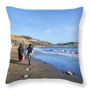 A Walk Along Back Beach Throw Pillow