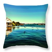A Walk By The Riverside  Throw Pillow