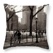 A Walk In Central Park - Antique Appeal Throw Pillow