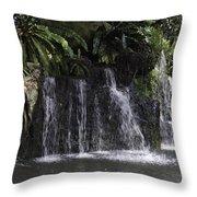 A Waterfall As Part Of An Exhibit Inside The Jurong Bird Park Throw Pillow