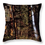 A Waterfall Tumbles Through The Forest Throw Pillow