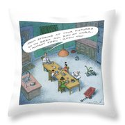 A Wealthy Man Addresses His Familiy At Dinner Throw Pillow