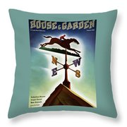 A Weathervane With A Racehorse Throw Pillow