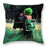 A Very Green Weekend In The Country Throw Pillow
