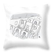 A Well-behaved Boy On An Airplane Wears A T-shirt Throw Pillow