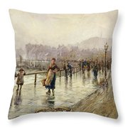 A Wet Day In Whitby Wc On Paper Throw Pillow