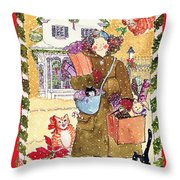 A Whiskers And Piper Christmas Throw Pillow