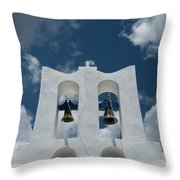 A Whitewashed Bell Tower And Dramatic Throw Pillow