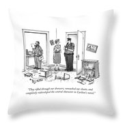 A Wife Talking To A Policeman In A Destroyed Throw Pillow