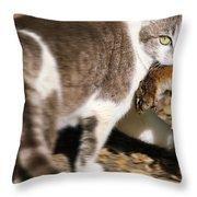 A Wild Cat Catching A Chipmunk Throw Pillow