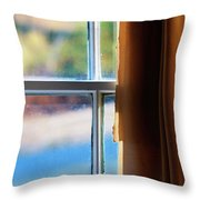 A Window With Torn Curtains Throw Pillow