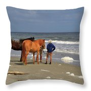 A Windy Day At Hunting Island Beach Throw Pillow