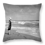A Winter Day At Miami Beach Throw Pillow