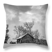 A Winter Eve Monochrome Throw Pillow